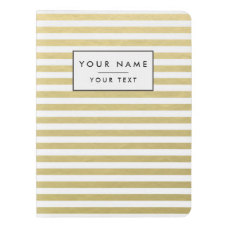 Faux Gold Foil White Stripes Pattern Extra Large Moleskine Notebook Cover With Notebook