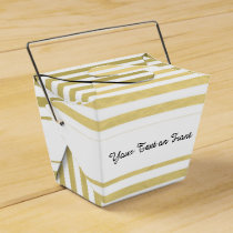 Faux Gold Foil White Stripes Pattern Favor Box