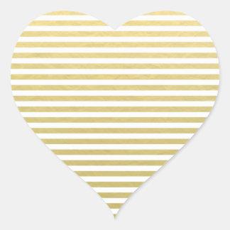 Faux Gold Foil White Stripes Pattern Heart Sticker