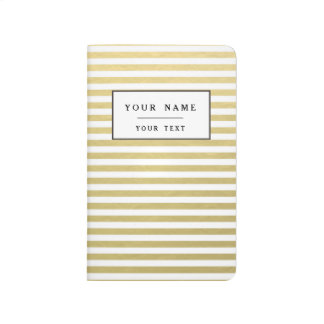 Faux Gold Foil White Stripes Pattern Journal