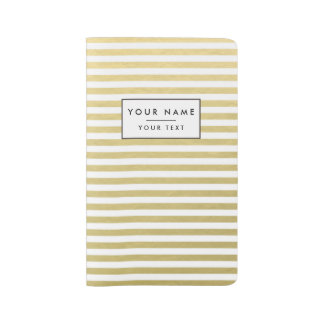 Faux Gold Foil White Stripes Pattern Large Moleskine Notebook Cover With Notebook