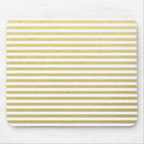 Faux Gold Foil White Stripes Pattern Mouse Pad