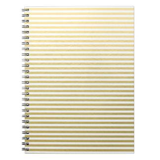 Faux Gold Foil White Stripes Pattern Notebook