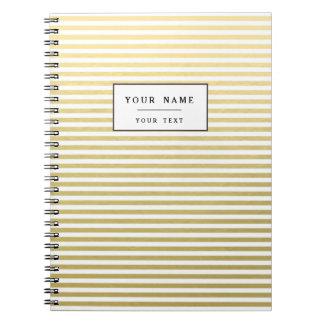 Faux Gold Foil White Stripes Pattern Spiral Notebooks