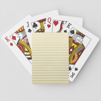 Faux Gold Foil White Stripes Pattern Playing Cards