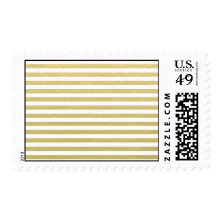 Faux Gold Foil White Stripes Pattern Postage