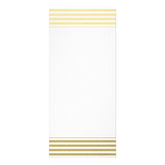 Faux Gold Foil White Stripes Pattern Rack Card