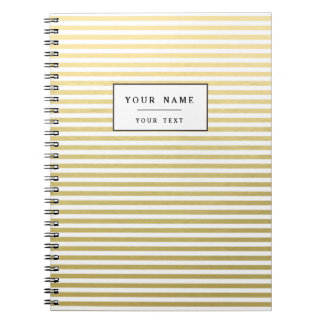 Faux Gold Foil White Stripes Pattern Spiral Notebook