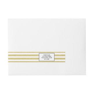 Faux Gold Foil White Stripes Pattern Wraparound Address Label
