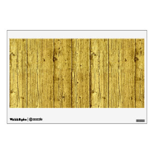 Faux Gold Foil Wood Texture Background Template Wall Sticker