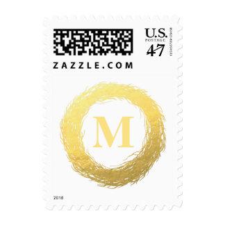 Faux Gold Foil Wreath Monogram Stamp