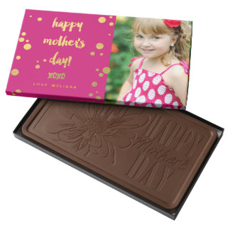 Faux Gold Foil XOXO | Mother's Day Chocolate 2 Pound Milk Chocolate Bar Box