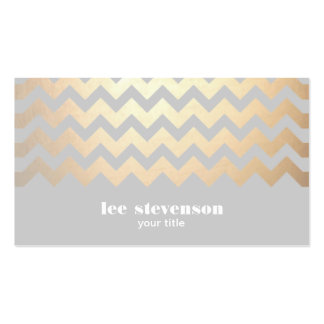Faux Gold Foil Zig Zag Pattern Gray Cool Trendy Double-Sided Standard Business Cards (Pack Of 100)