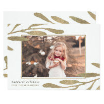 Faux Gold Frame Happy Holidays Photo Card