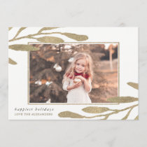 Faux Gold Frame Happy Holidays Photo Holiday Card