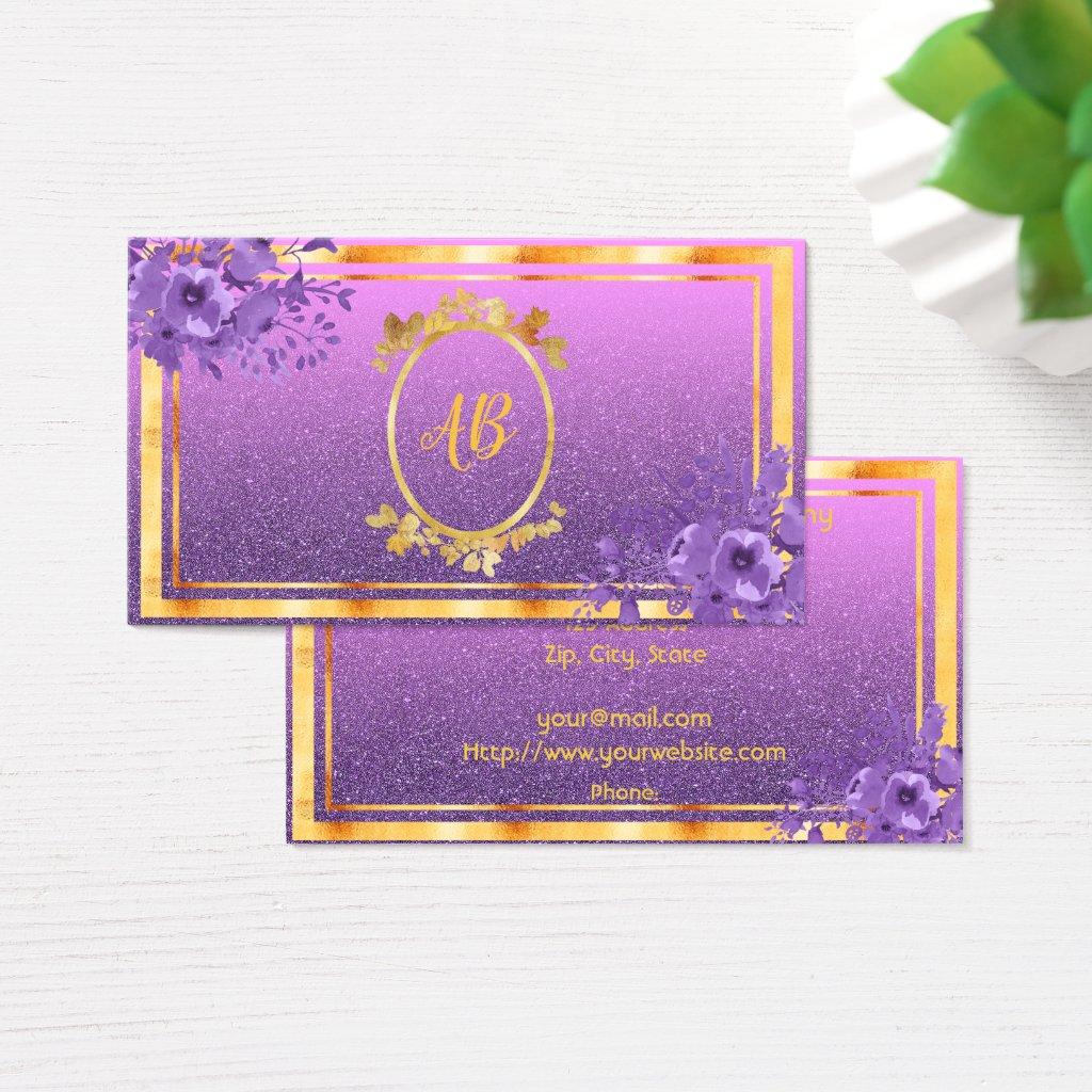 Faux gold frame violet flowers glitter monogrammed