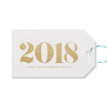 Faux Gold Glitter 2018 Typography Happy New Year Gift Tags