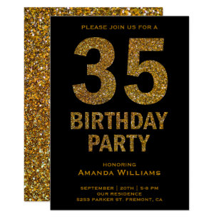 Black gold 35th birthday party invitations announcements zazzle faux gold glitter 35th birthday party invitation filmwisefo