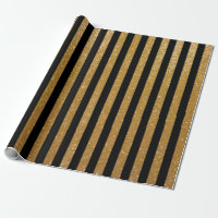 Faux gold glitter and black striped wrappingpaper
