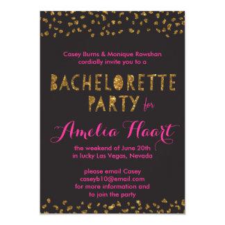 Faux Gold Glitter Animal Print Bachelorette Party Card