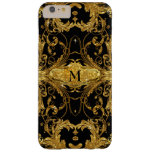 Faux Gold Glitter Art Nouveau Scroll Black Damask Barely There iPhone 6 Plus Case