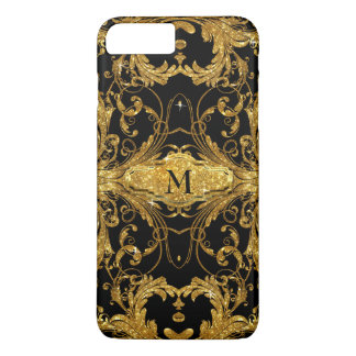 Faux Gold Glitter Art Nouveau Scroll Black Damask iPhone 7 Plus Case