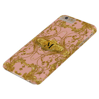 Faux Gold Glitter Art Nouveau Scroll Swirl Damask Barely There iPhone 6 Plus Case