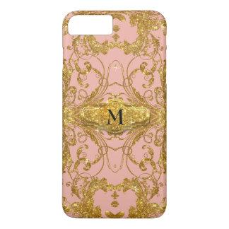 Faux Gold Glitter Art Nouveau Scroll Swirl Damask iPhone 7 Plus Case