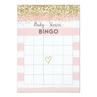 Faux Gold Glitter Baby Shower Bingo Card