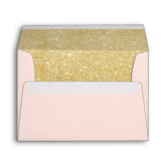 Faux Gold Glitter Blush Pink Return Address Envelope