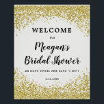 "Faux gold glitter bridal shower welcome sign white<br><div class=""desc"">A beautiful way to welcome the guests at your bridal shower. With a white background and featuring a faux gold glitter confetti border for a bit of sparkle and bling! Easy to edit the text fields shown to personalise your name and details to suit you! **please note the faux gold...</div>"
