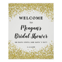 Faux gold glitter bridal shower welcome sign white