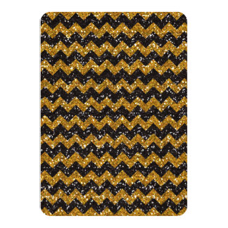 Faux Gold Glitter Chevron Pattern Black Glitter Card