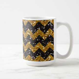 Faux Gold Glitter Chevron Pattern Black Glitter Coffee Mug