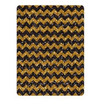 Faux Gold Glitter Chevron Pattern Black Glitter 6.5x8.75 Paper Invitation Card