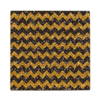 Faux Gold Glitter Chevron Pattern Black Glitter Maple Wood Coaster