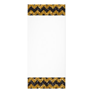 Faux Gold Glitter Chevron Pattern Black Glitter Rack Card