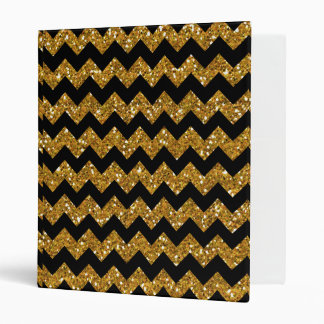 Faux Gold Glitter Chevron Pattern Black Solid Colo Binder