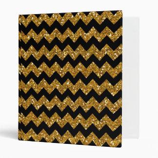 Faux Gold Glitter Chevron Pattern Black Solid Colo Binder