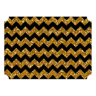 Faux Gold Glitter Chevron Pattern Black Solid Colo Card
