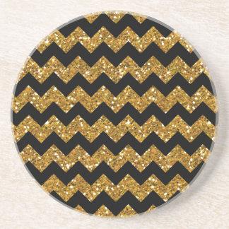 Faux Gold Glitter Chevron Pattern Black Solid Colo Drink Coaster