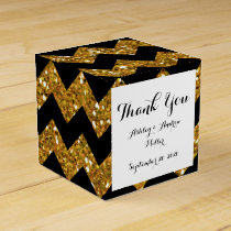 Faux Gold Glitter Chevron Pattern Black Solid Colo Favor Box