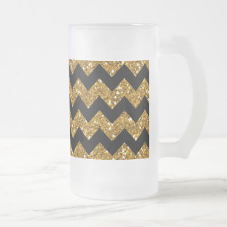 Faux Gold Glitter Chevron Pattern Black Solid Colo Frosted Glass Beer Mug