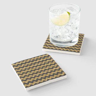 Faux Gold Glitter Chevron Pattern Black Solid Colo Stone Beverage Coaster