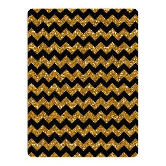 Faux Gold Glitter Chevron Pattern Black Solid Colo 6.5x8.75 Paper Invitation Card