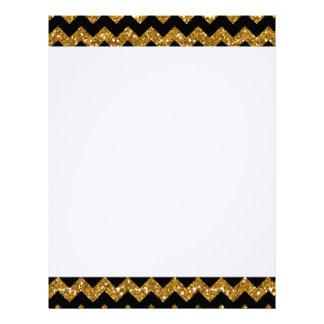 Faux Gold Glitter Chevron Pattern Black Solid Colo Letterhead