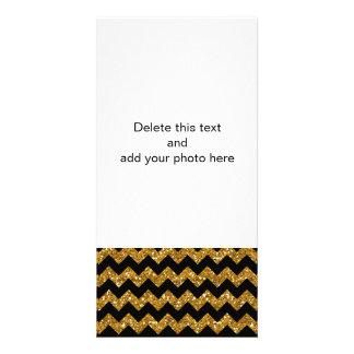 Faux Gold Glitter Chevron Pattern Black Solid Colo Customized Photo Card