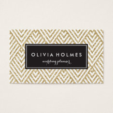Faux Gold Glitter Chevron Pattern Business Card at Zazzle