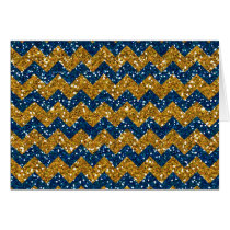Faux Gold Glitter Chevron Pattern Navy Blue Glitte