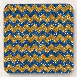 Faux Gold Glitter Chevron Pattern Navy Blue Glitte Beverage Coasters